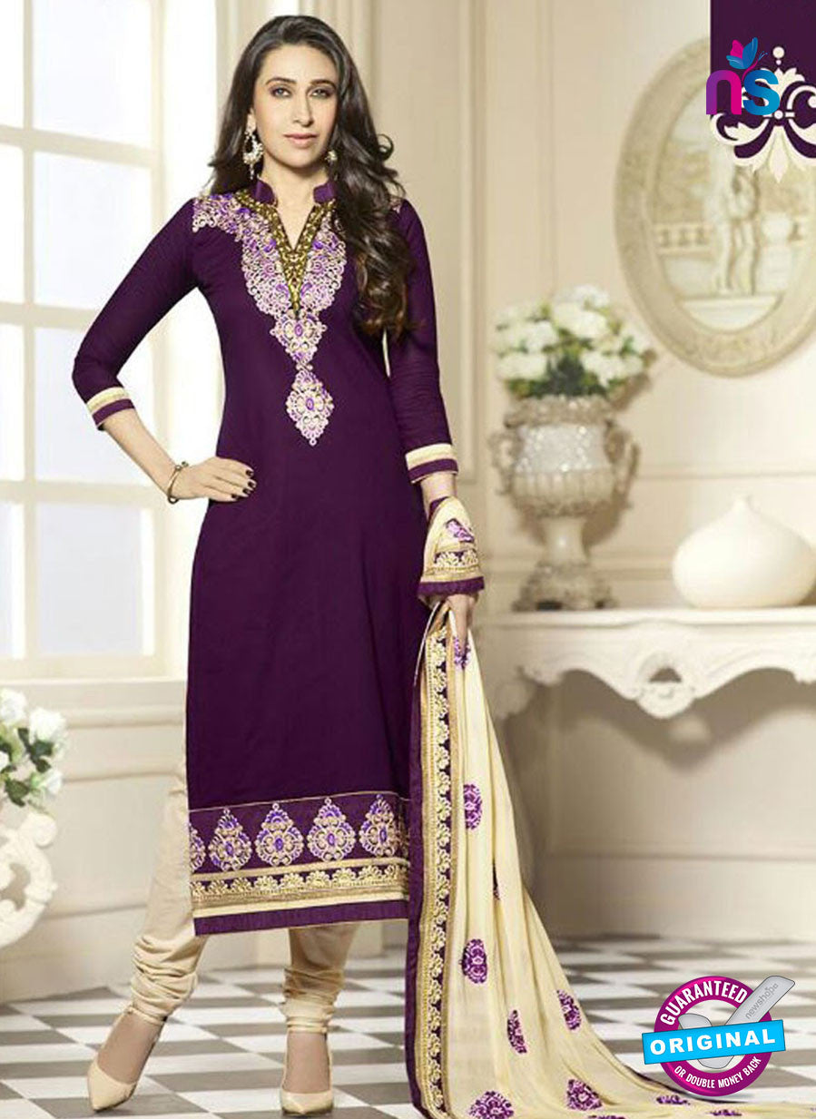 SC 12596 Purple and Beige Embroidered Pure Cotton Straight Suit