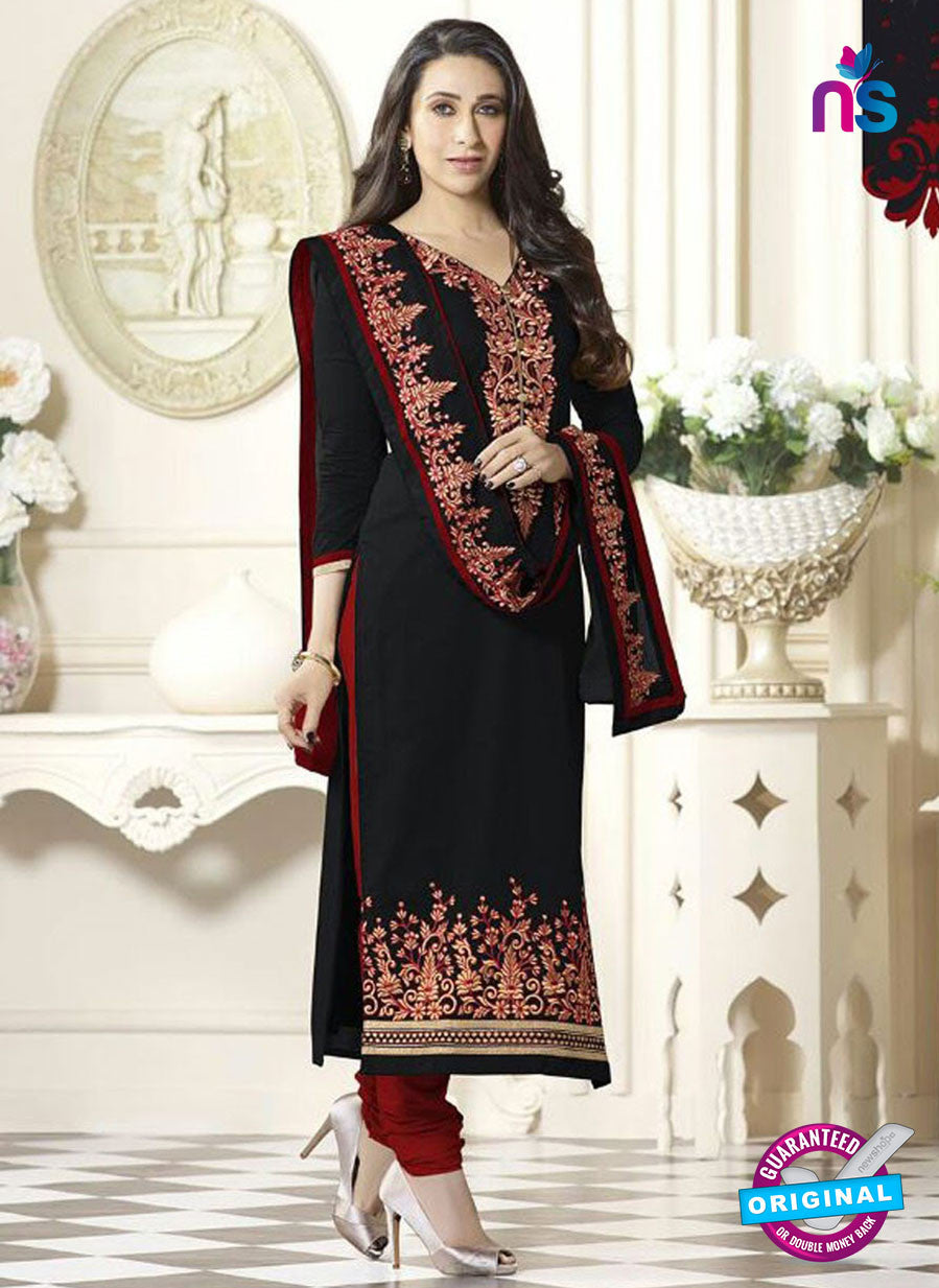 SC 12598 Black and Maroon Embroidered Pure Cotton Straight Suit