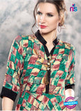 SC 13993 Green and Multicolor Rayon Cotton Western Style Tunic