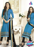SC 12592 Blue and Black Embroidered Pure Cotton Straight Suit