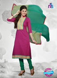 NS10987 Magenta and Green Designer Cotton Straight Suit
