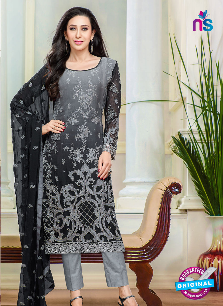 NS10455 Black and Grey Faux Georgette Straight Suit