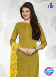 NS10991 Yellow and Black Designer Cotton Straight Suit