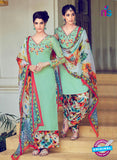 Heer 6301 Green And Multicolor Embroidered cotton satin  Party Wear Suit