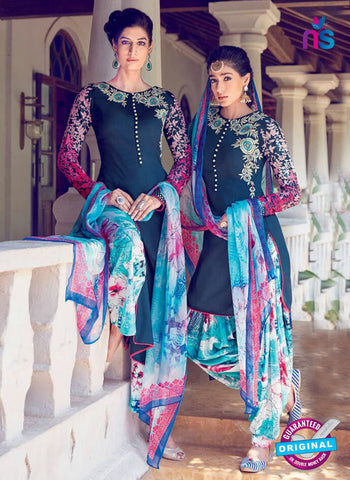 Heer 6302 Blue and Multicolor Embroidered Cotton Satin Party Wear Suit
