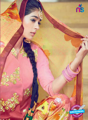 Heer 6304 Pink and Multicolor Embroidered Cotton Satin Party Wear Suit