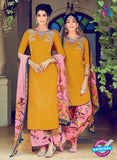 Heer 6305 Multicolor and Yellow Embroidered Cotton Satin Party Wear Suit