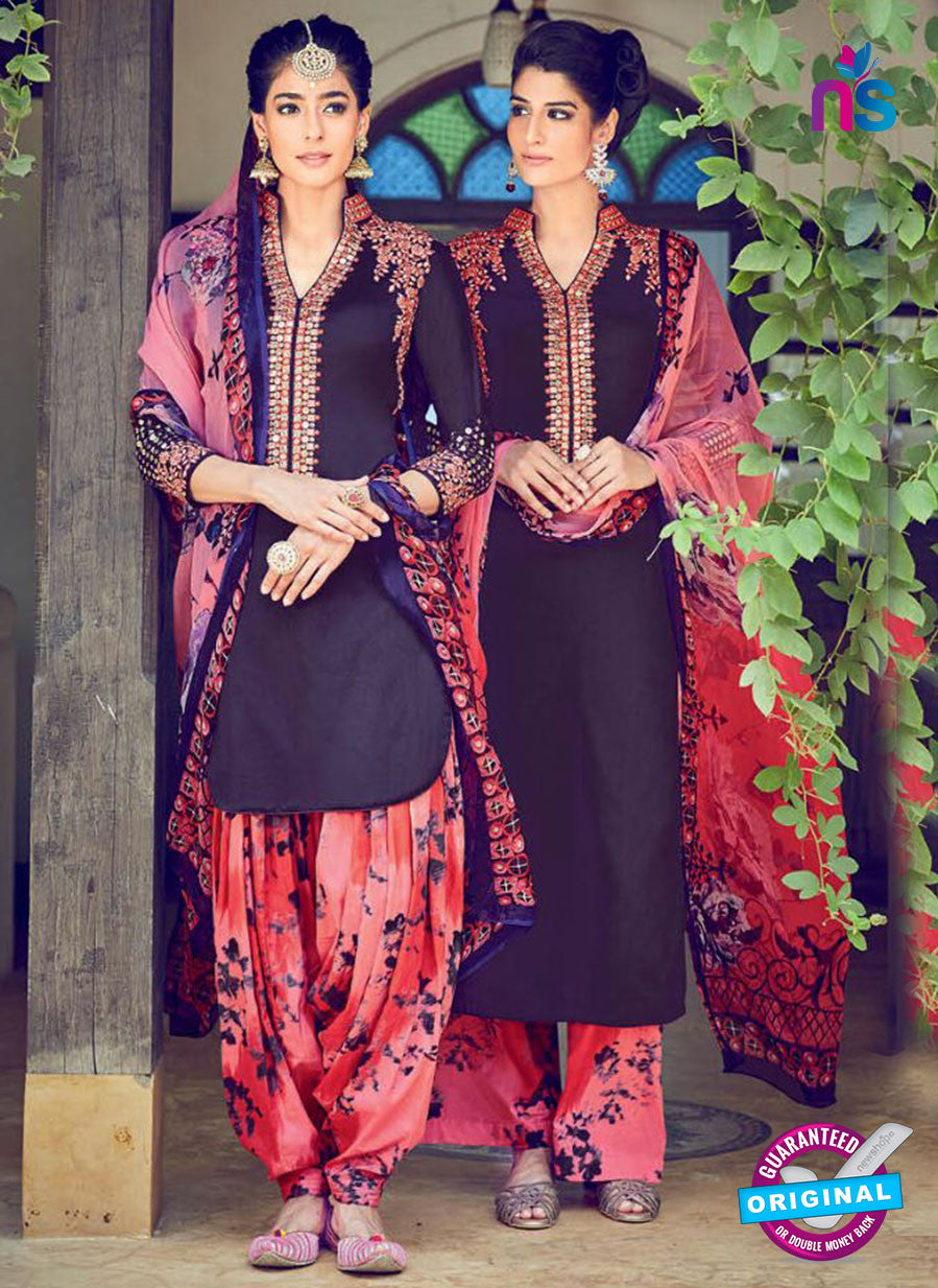 Heer 6307 Black And Multicolor Embroidered Cotton Satin Party Wear Suit