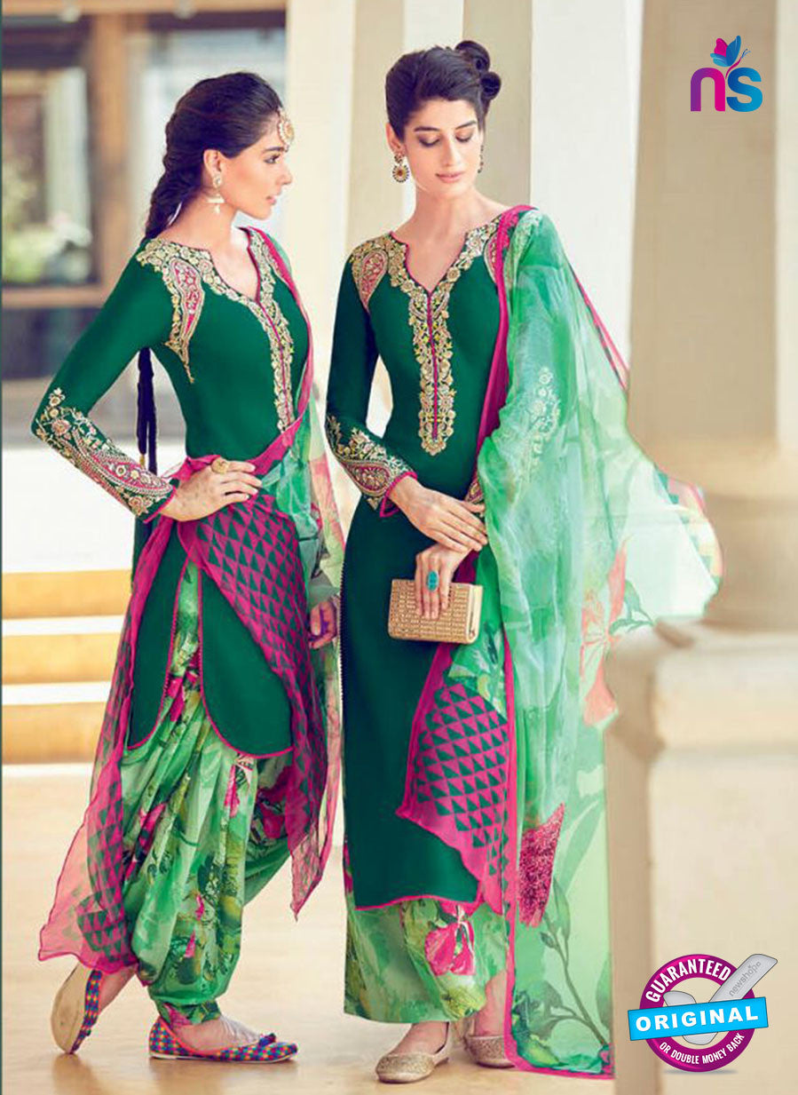 Heer 6308 Green and Multicolor Embroidered cotton satin  Party Wear Suit