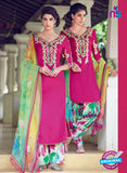 Heer 6309 Pink and Multicolor Embroidered cotton satin  Party Wear Suit