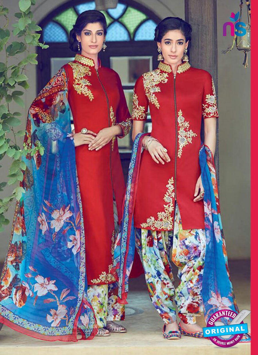 Heer 6312 Multicolor and Red Embroidered cotton satin  Party Wear Suit