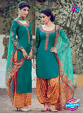 Heer 6313 Green and Multicolor Embroidered cotton satin  Party Wear Suit