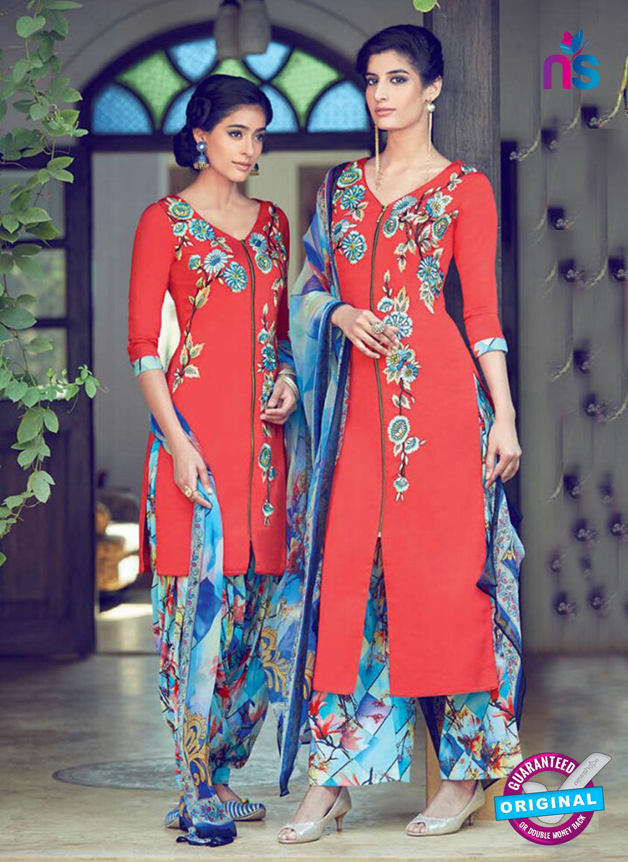 Heer 6314 Red and Blue Embroidered cotton satin  Party Wear Suit