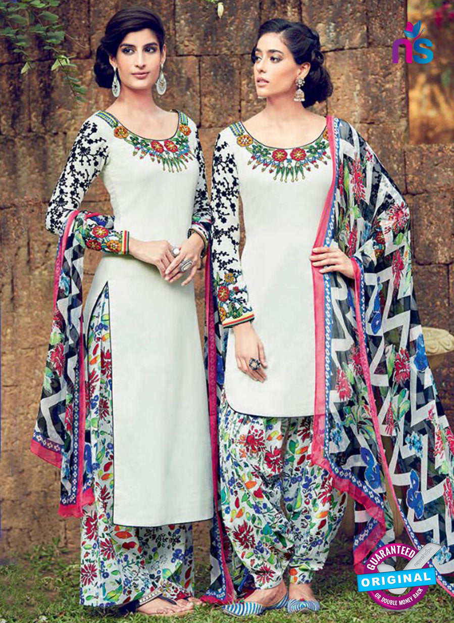 Heer 6315 White and Multicolor Embroidered cotton satin  Party Wear Suit