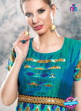 SC 13992 Green and Blue Rayon Cotton Western Style Tunic