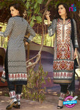 SC 12572 Black and White Printed Glace Cotton with Embroidered Straight Suit