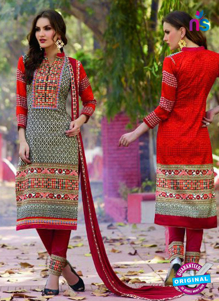 SC 12579 Red and Multicolor Printed Glace Cotton with Embroidered Straight Suit