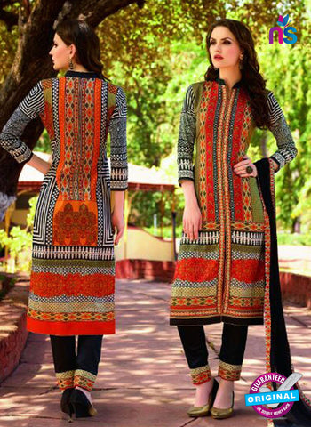 SC 12573 Black and Multicolor Printed Glace Cotton with Embroidered Straight Suit