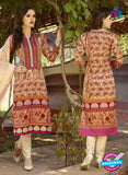 SC 12578 Beige and Maroon Printed Glace Cotton with Embroidered Straight Suit