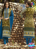 SC 12580 Multicolor and Blue Printed Glace Cotton with Embroidered Straight Suit