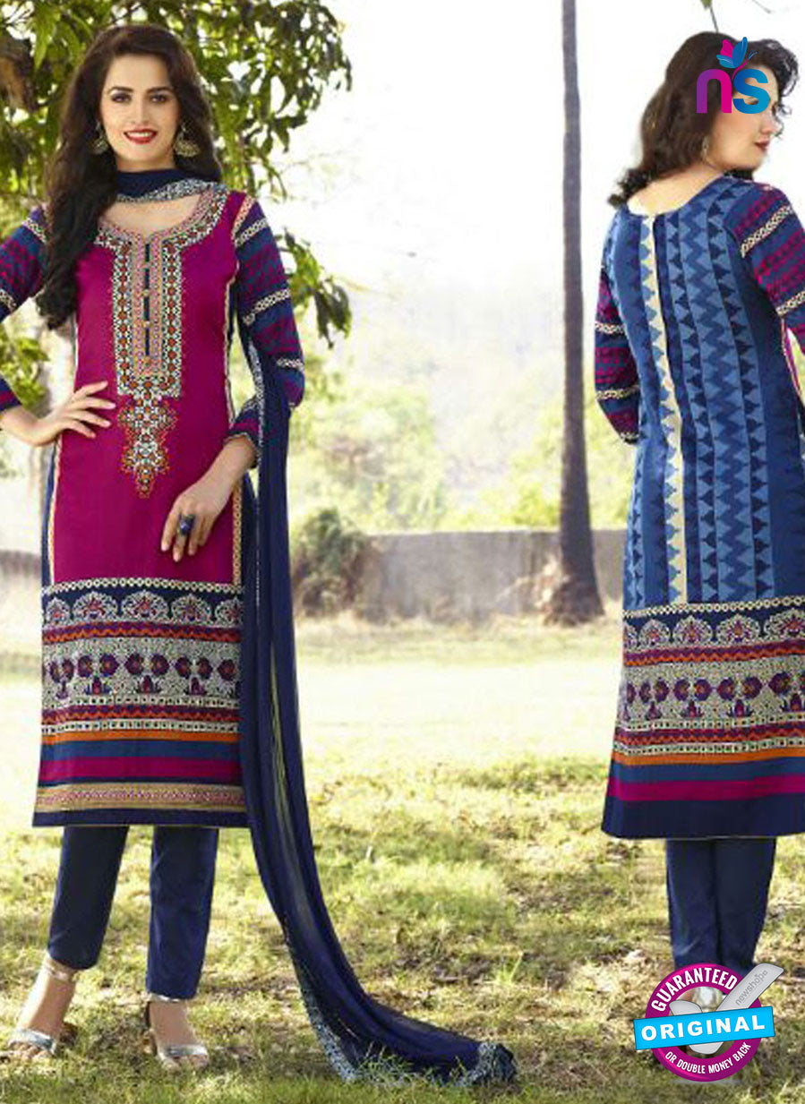 SC 12574 Magenta and Blue Printed Glace Cotton with Embroidered Straight Suit
