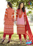 SC 12575 Orange and Red Printed Glace Cotton with Embroidered Straight Suit