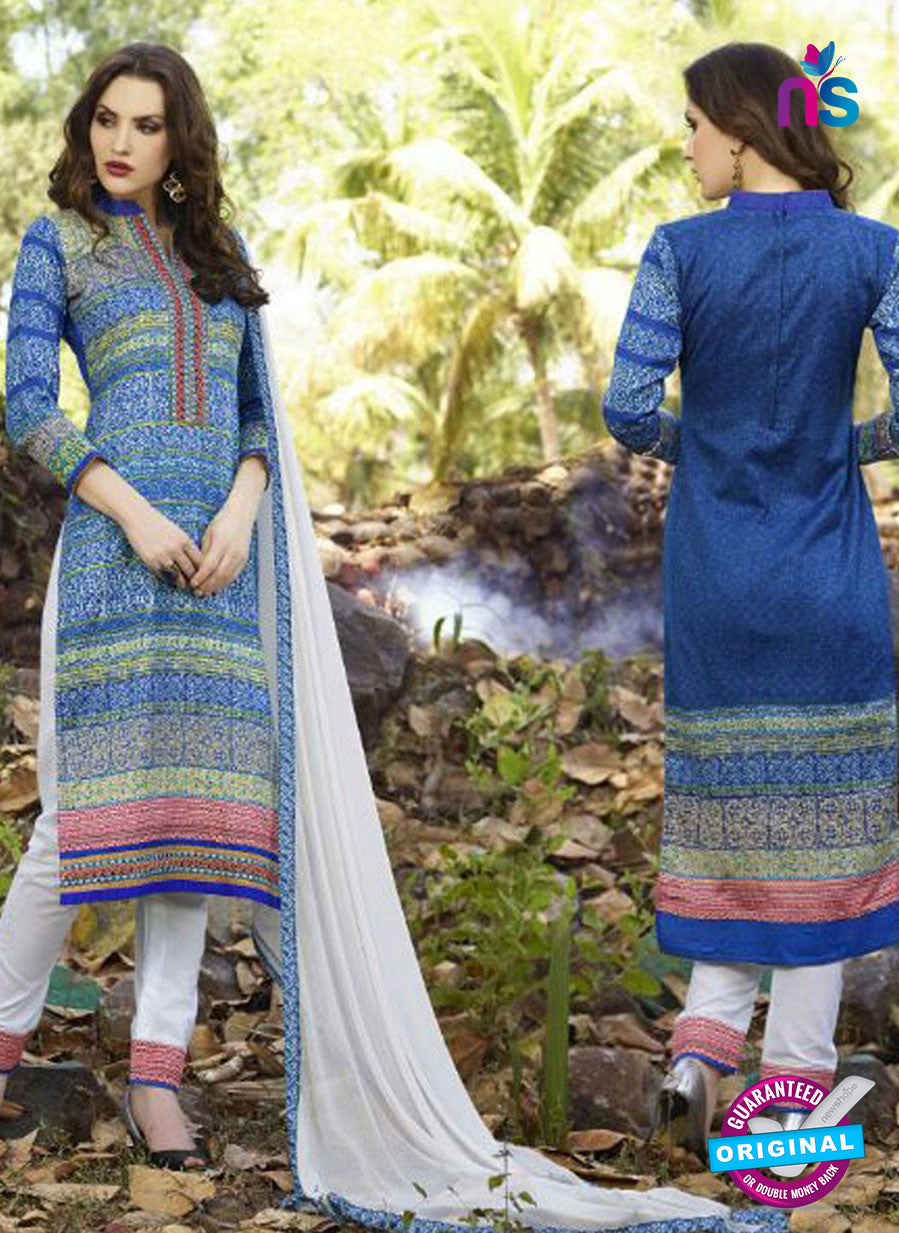 SC 12576 Blue and White Printed Glace Cotton with Embroidered Straight Suit