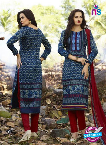 SC 12581 Blue and Maroon Printed Glace Cotton with Embroidered Straight Suit