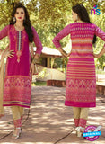 SC 12570 Pink and Beige Printed Glace Cotton with Embroidered Straight Suit