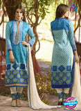 SC 12571 Blue and Beige Printed Glace Cotton with Embroidered Straight Suit