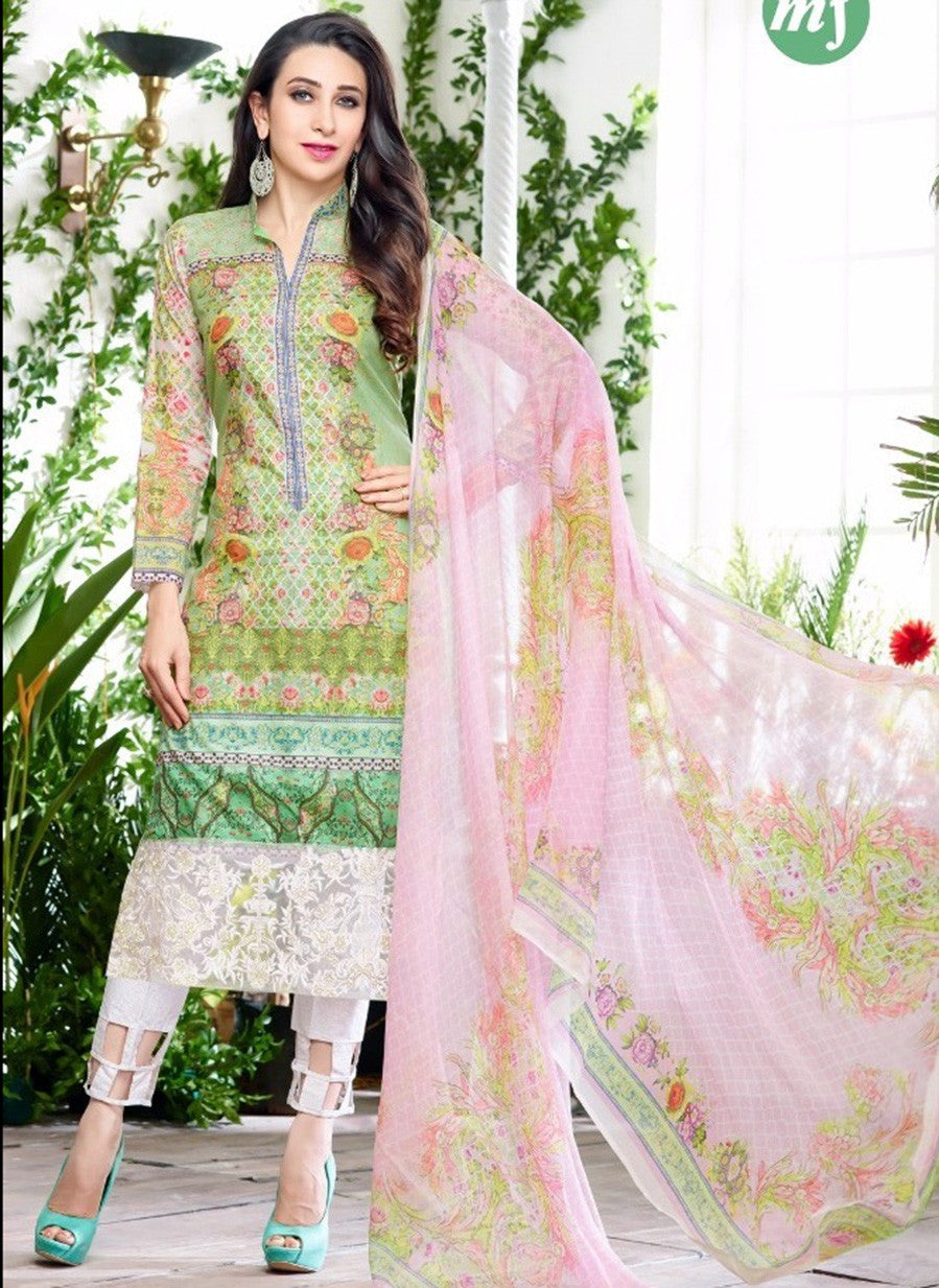MF 64000 Green & White Color Glazed Cotton Designer Suit