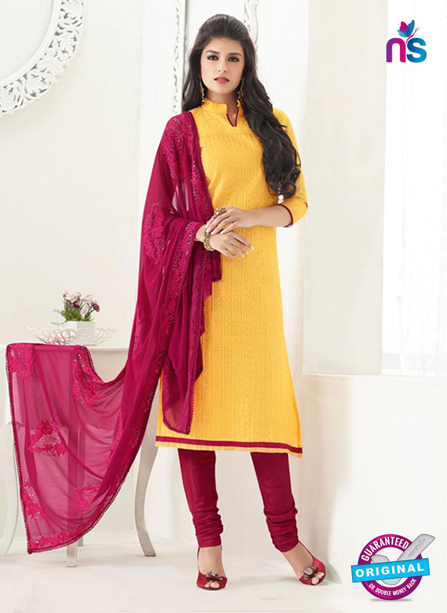 NS10994 Yellow and Red Designer Chanderi Straight Suit