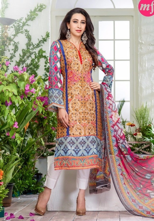 MF 64004 Multi Color Glazed Cotton Designer Suit