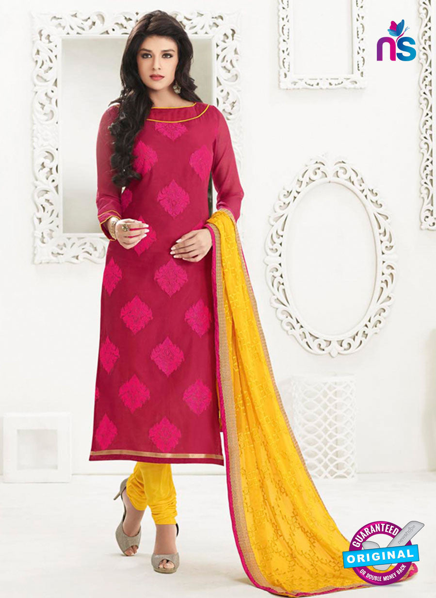 NS10995 Red and Yellow Designer Chanderi Straight Suit
