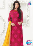 NS10995 Magenta and Yellow Designer Chanderi Straight Suit