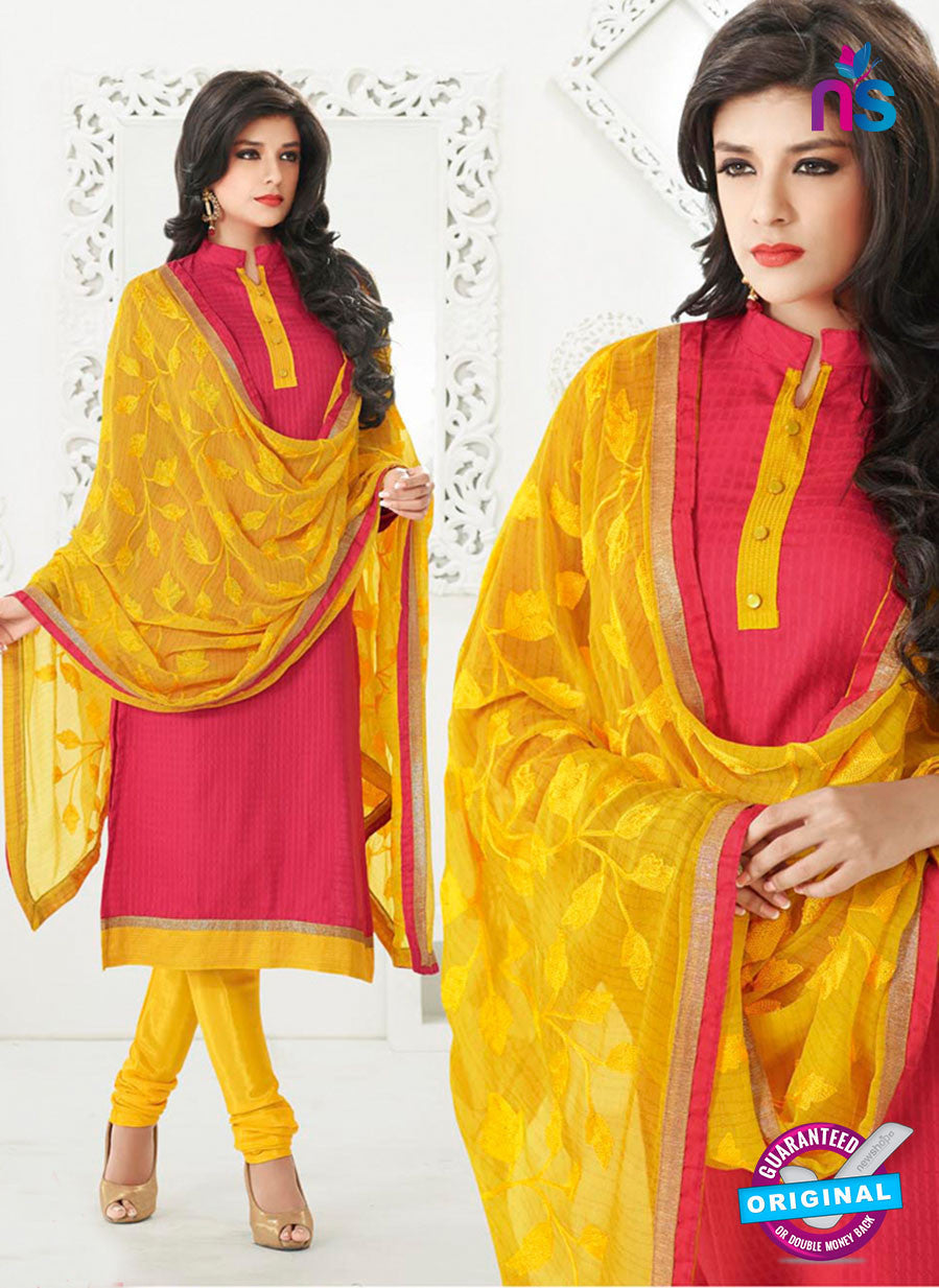 NS10997 Crimson Red and Yellow Designer Chanderi Straight Suit