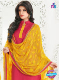 NS10997 Crimson Red and Yellow Designer Chanderi Straight Suit Online