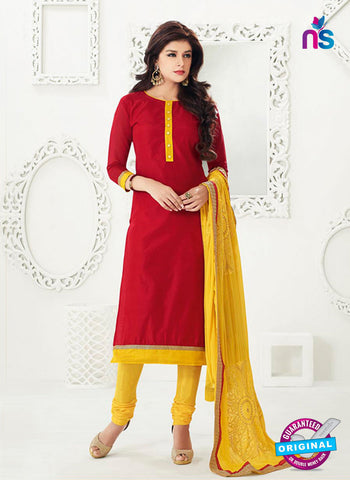 NS10999 Red and Yellow Designer Chanderi Straight Suit