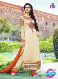 AZ 3393 Beige Embroidered Georgette Party Wear Suit