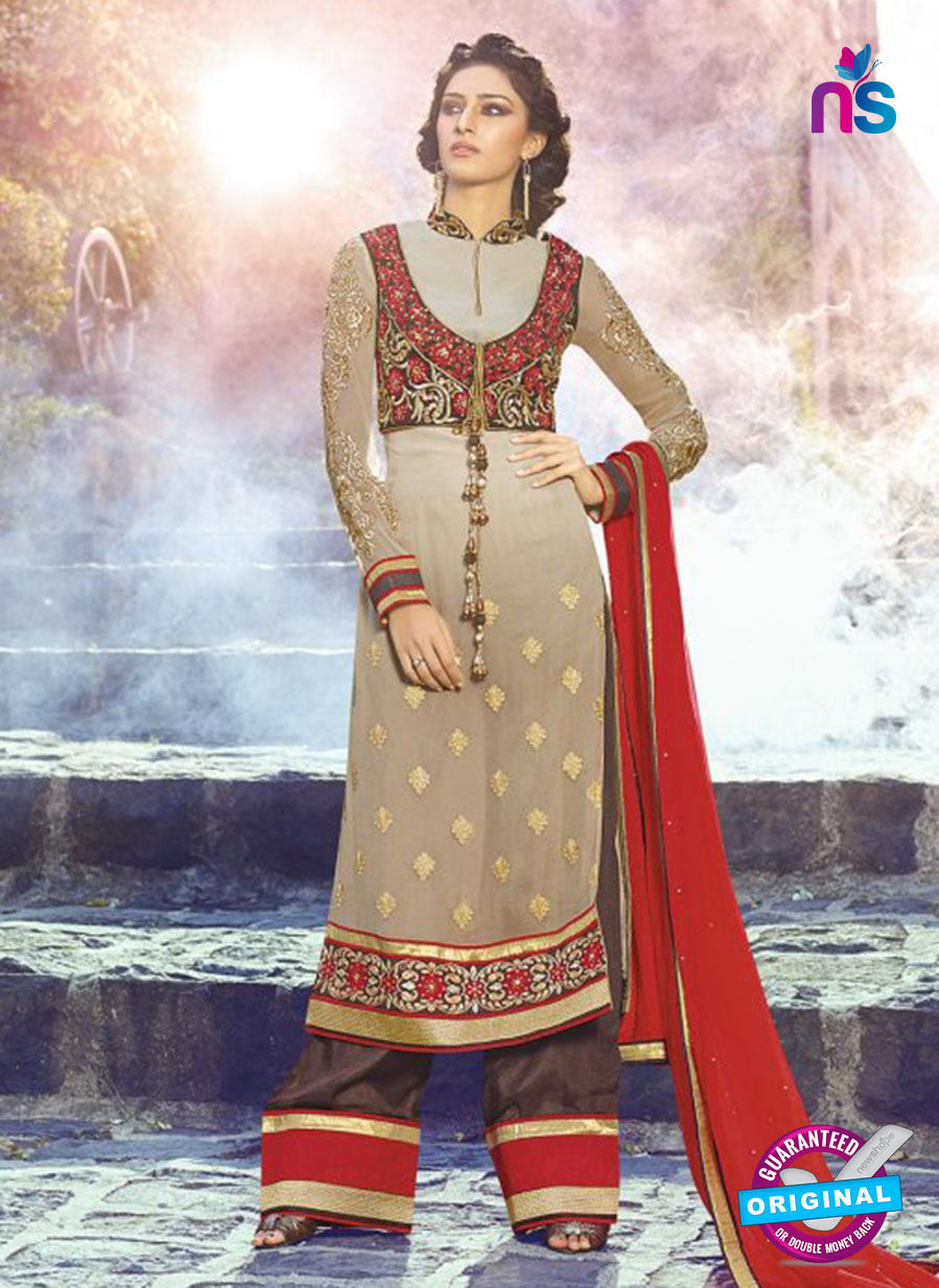 AZ 3396 Beige and Brown Embroidered Georgette Party Wear Suit