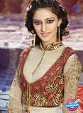 AZ 3396 Beige and Brown Embroidered Georgette Party Wear Suit Online