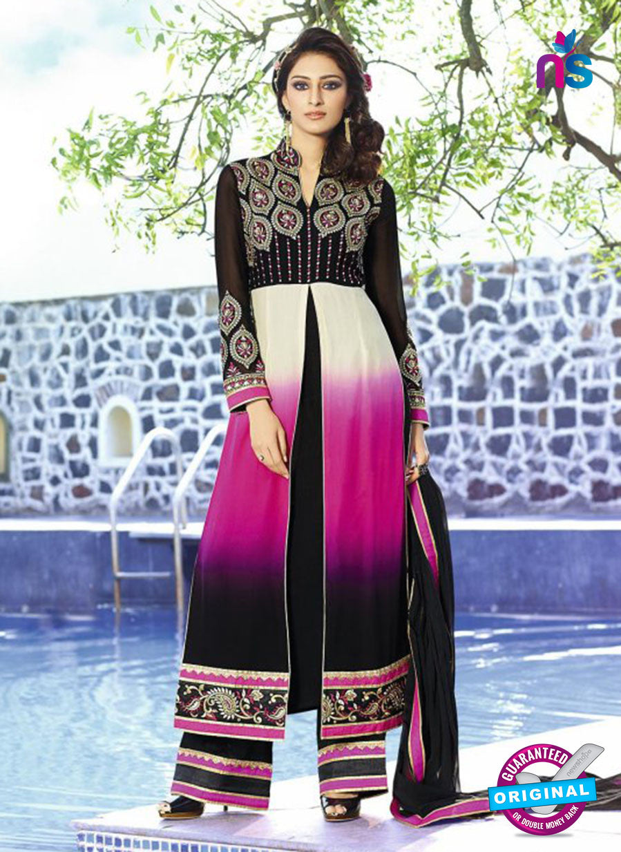 AZ 3398 Black and Pink Embroidered Georgette Party Wear Suit