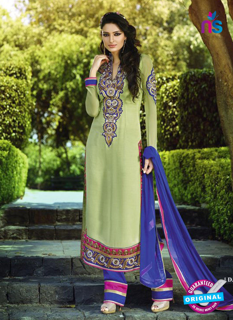 AZ 3399 Green and Blue Embroidered Georgette Party Wear Suit