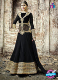 SC 13257 Black and Golden Embroidered Georgette Fancy Gawn