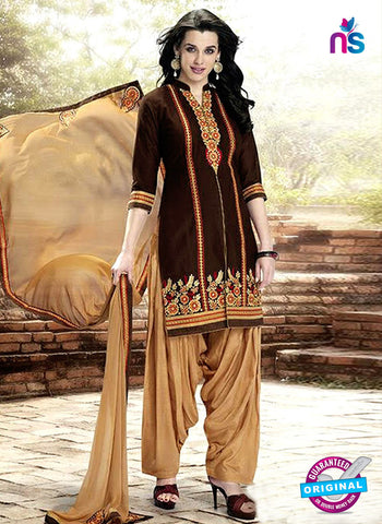 Kessi 6456 Brown Cotton Patiala Suit
