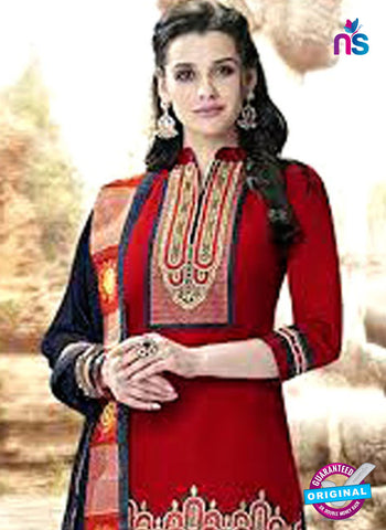 Kessi 6457 Red Cotton Patiala Suit
