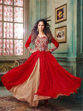 NS11900  Red Silky Net and Georgette Designer Gawn