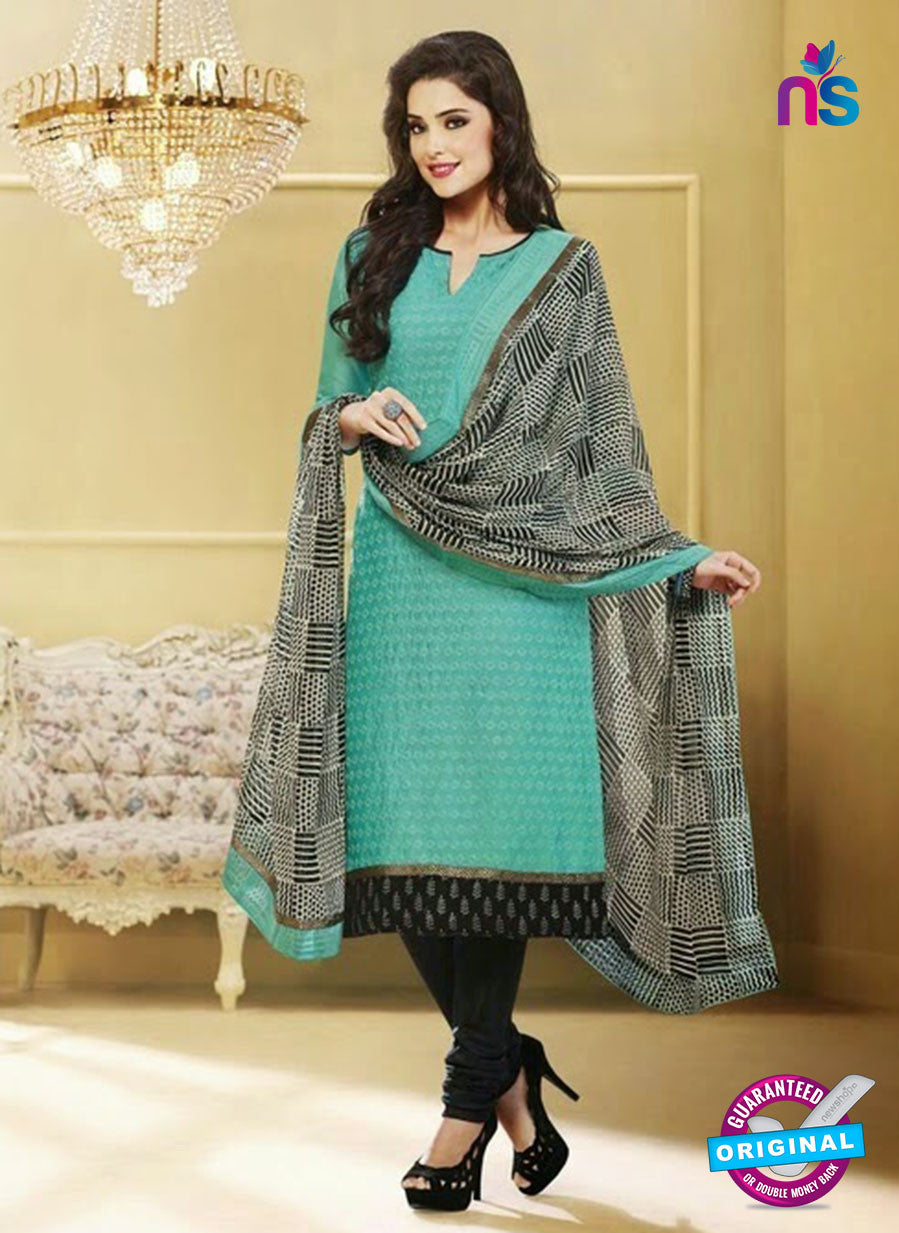 NS 11980 Sea Green and Black Designer Pajami Suit