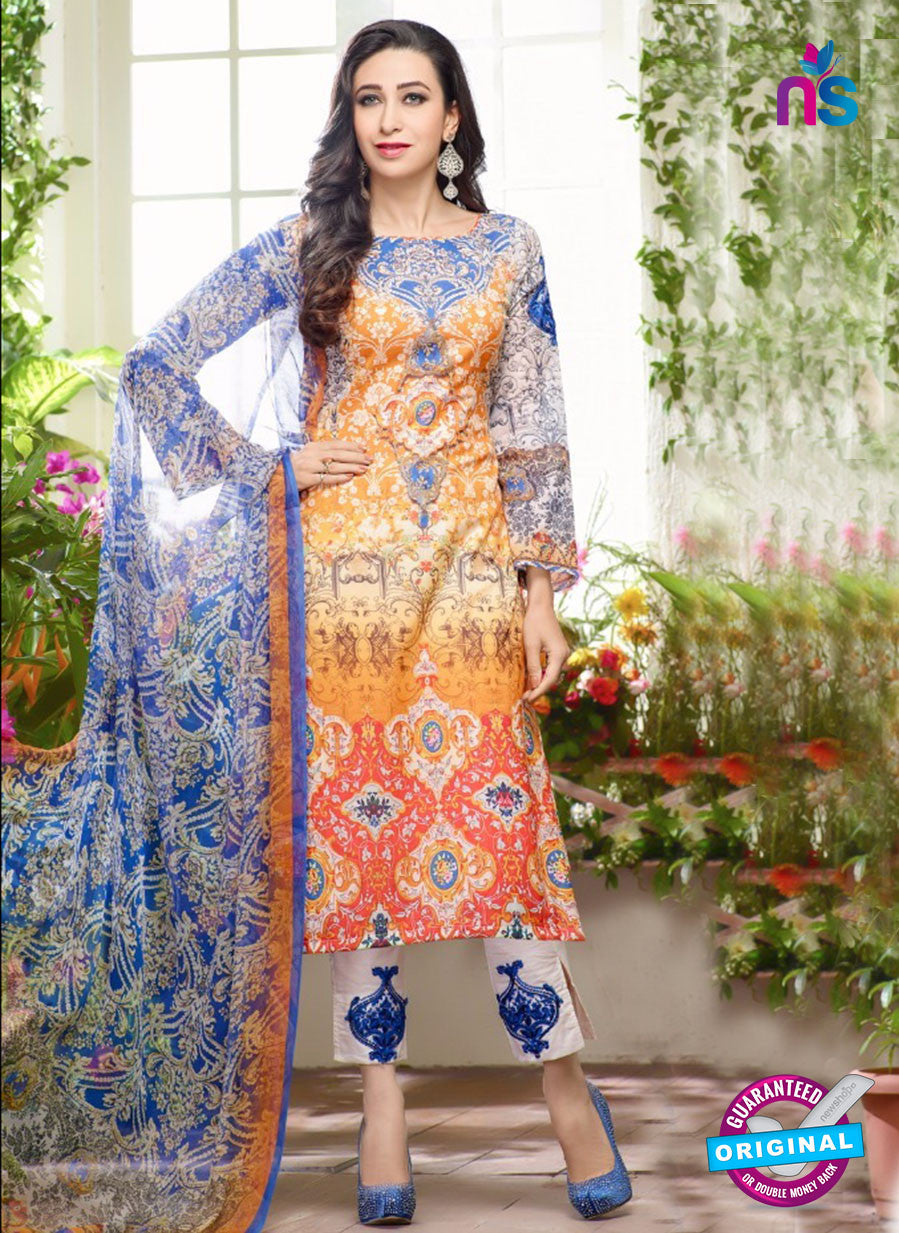 NS10459 White and Multicolor Cotton Satin Party Wear Pakistani Suit