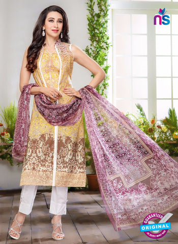 NS10460 Yellow, Brown and White Cotton Satin Party Wear Pakistani Suit